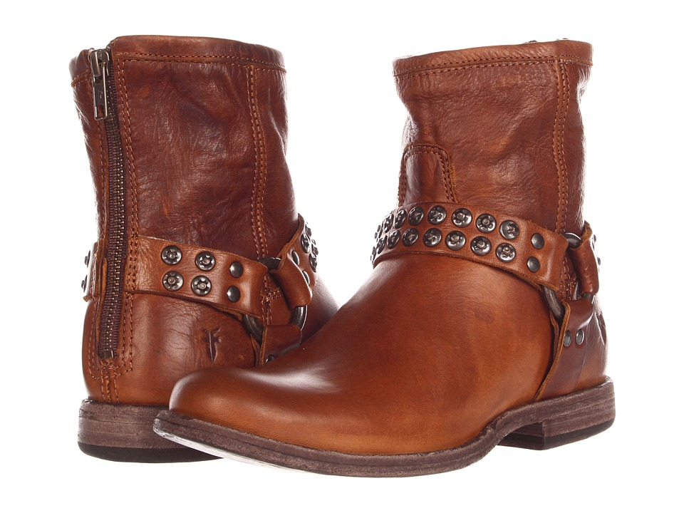 Frye Phillip Studded Harness (Cognac Soft Vintage Leather) Women