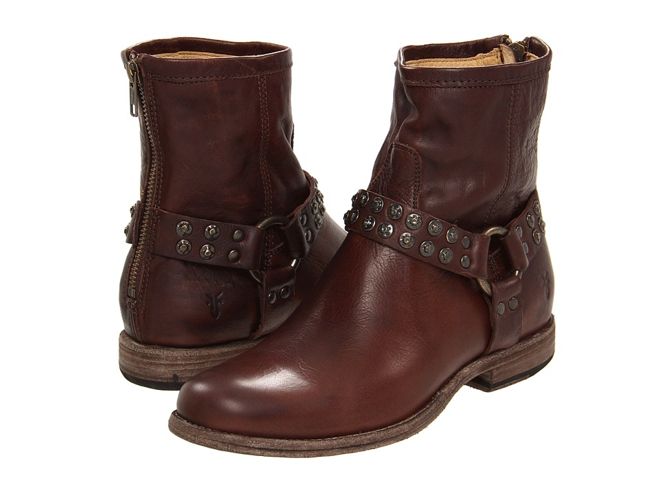 Frye - Phillip Studded Harness (Dark Brown Soft Vintage Leather) Women's Zip Boots