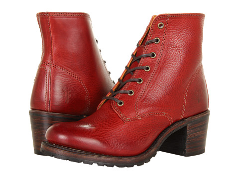 Frye Sabrina 6G Lace Up (Burnt Red Soft Pebbled Full Grain) Women's Lace-up Boots