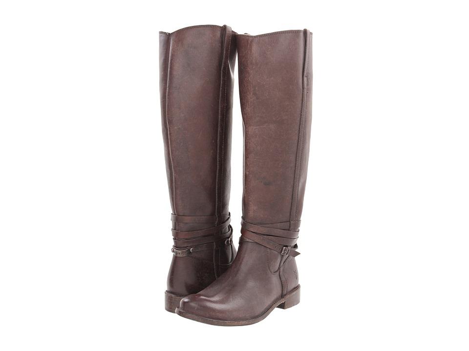 Frye Shirley Riding Plate (Dark Brown Stone Wash) Cowboy Boots