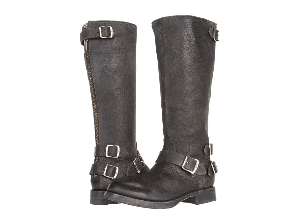 Frye - Veronica Back Zip (Black Stone Antiqued Leather) Women's Zip Boots