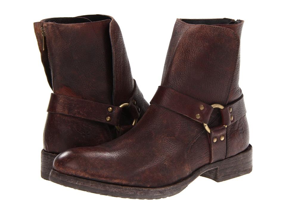 Frye - Dean Harness (Dark Brown Antiqued) Men's Zip Boots