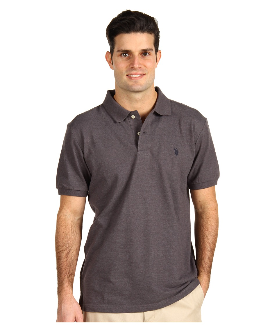 U.S. POLO ASSN. - Solid Cotton Pique Polo with Small Pony (Dark Grey Heather/ Black) Men's Short Sleeve Knit