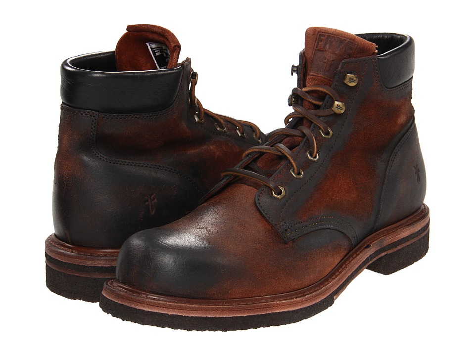 Frye - Dakota Crepe Plain Toe (Cognac Suede) Men's Lace-up Boots