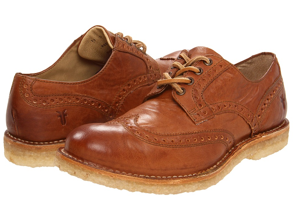Frye - Hudson Wingtip (Cognac Tumbled Full Grain) Men's Lace Up Wing Tip Shoes