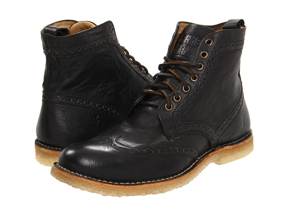 Frye - Hudson Wingtip Boot (Black Tumbled Full Grain) Men