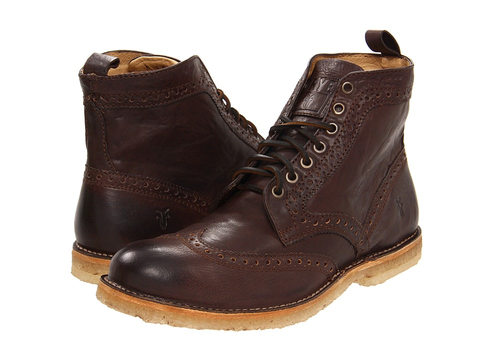 Frye - Hudson Wingtip Boot (Chocolate Tumbled Full Grain) Men