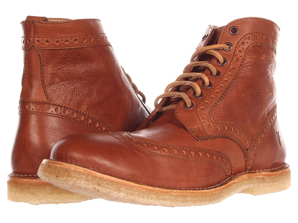 Frye - Hudson Wingtip Boot (Cognac Tumbled Full Grain) Men