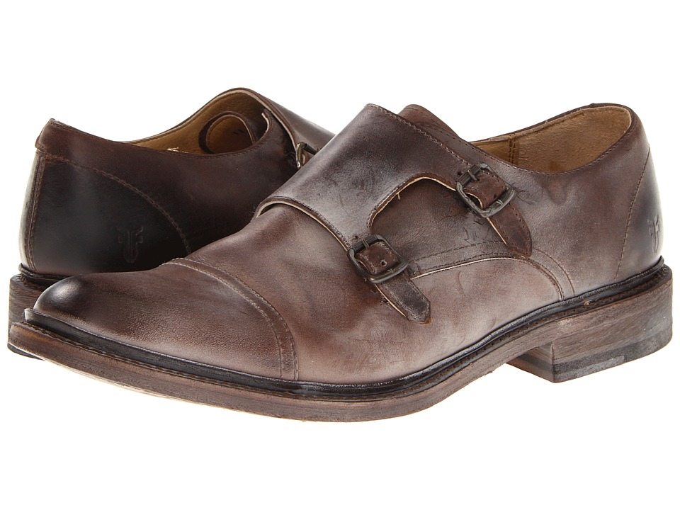 Frye - James Double Monk (Dark Brown Antique Pull Up) Men's Slip on Shoes