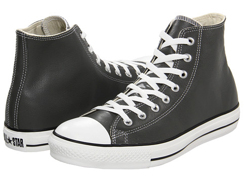 Converse - Chuck Taylor All Star Leather Hi (Charcoal Leather) Classic Shoes
