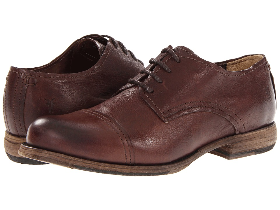 Frye - Johnny Oxford (Dark Brown Tumbled Full Grain) Men's Lace up casual Shoes