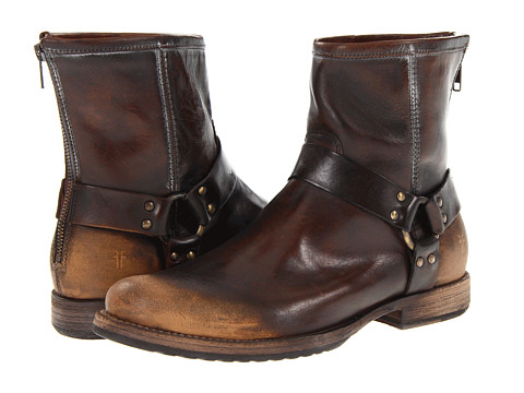 Frye - Phillip Harness (Dark Brown Brush Off) Men's Pull-on Boots