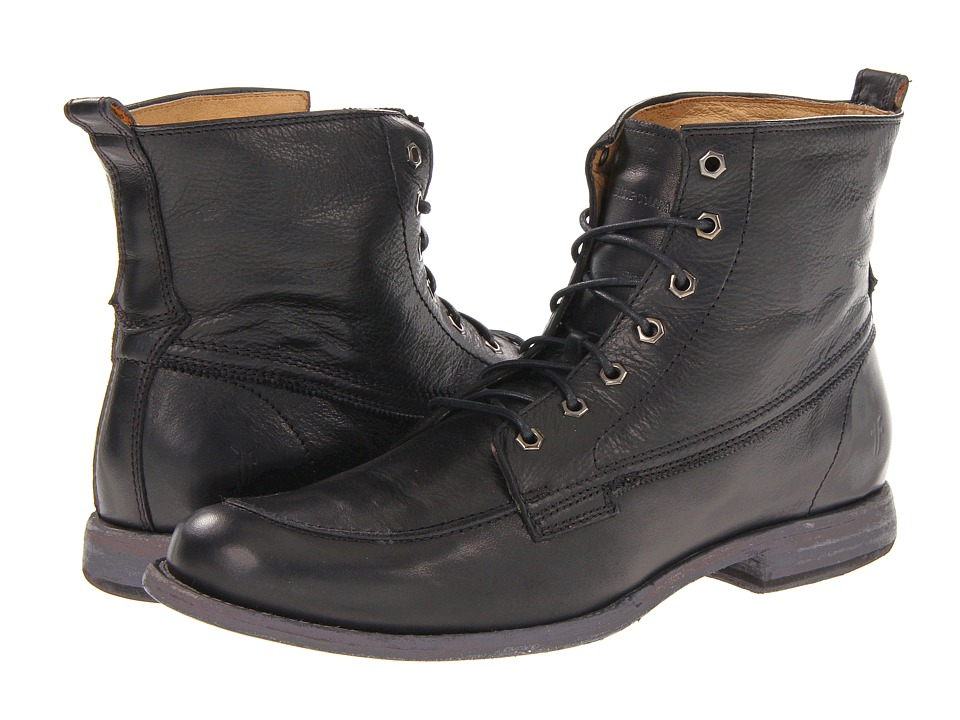 Frye - Phillip Work Boot (Black Soft Vintage Leather) Men's Work Lace-up Boots