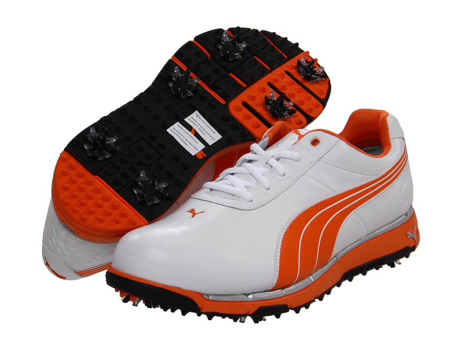 PUMA Golf - Faas Trac (White/Vibrant Orange) Men's Golf Shoes