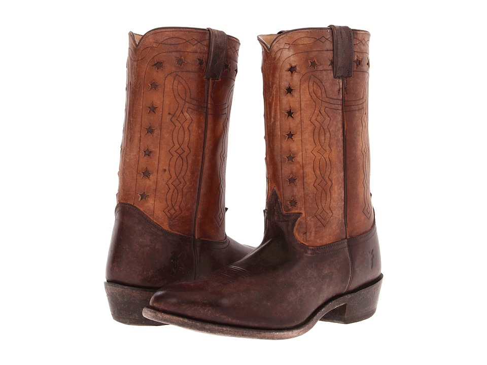 Frye - Wyatt Americana (Dark Brown Stone Antiqued) Cowboy Boots