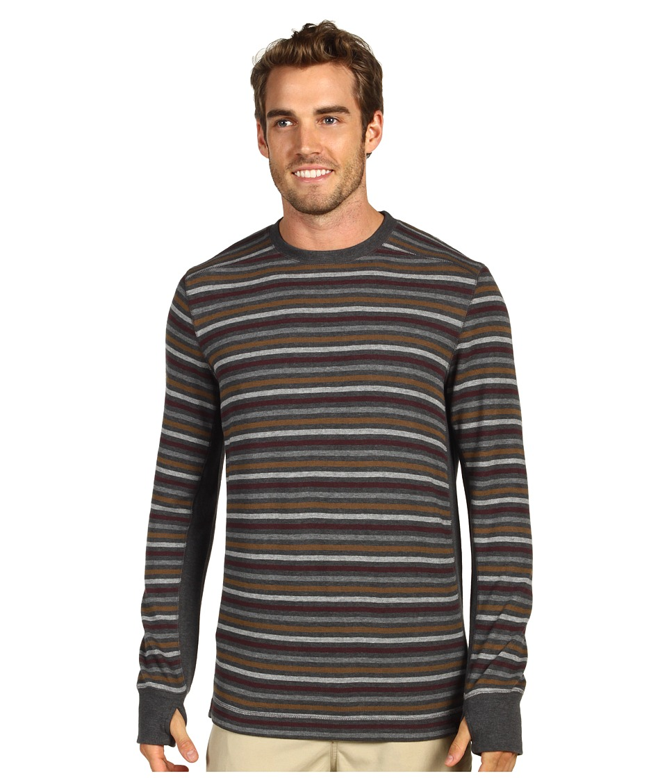 Prana - Driftwood L/S Crew (Charcoal) Men's Long Sleeve Pullover
