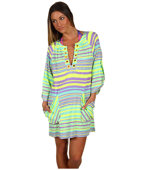 Nanette Lepore - Seaside Stripe Tunic (Neon Citron) Women