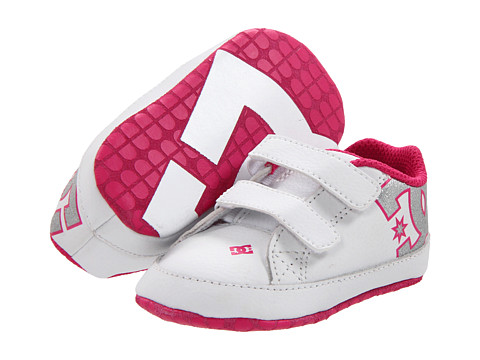 DC Kids - Court Graffik Crib (Infant) (White/Pink) Girls Shoes