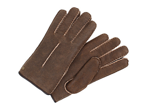UGG - Single Point Glove w/ Binding (Bomber Choc Natural) Dress Gloves