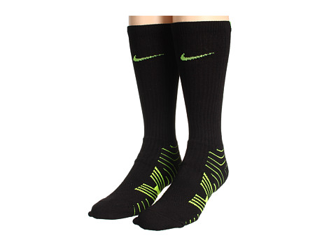 Nike - Performance Football Crew 2-Pair Pack (Black/(Volt)/Black/(Volt)) Crew Cut Socks Shoes