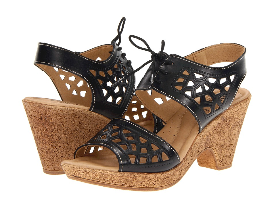 Spring Step - Lamay (Black Leather) Women's Wedge Shoes