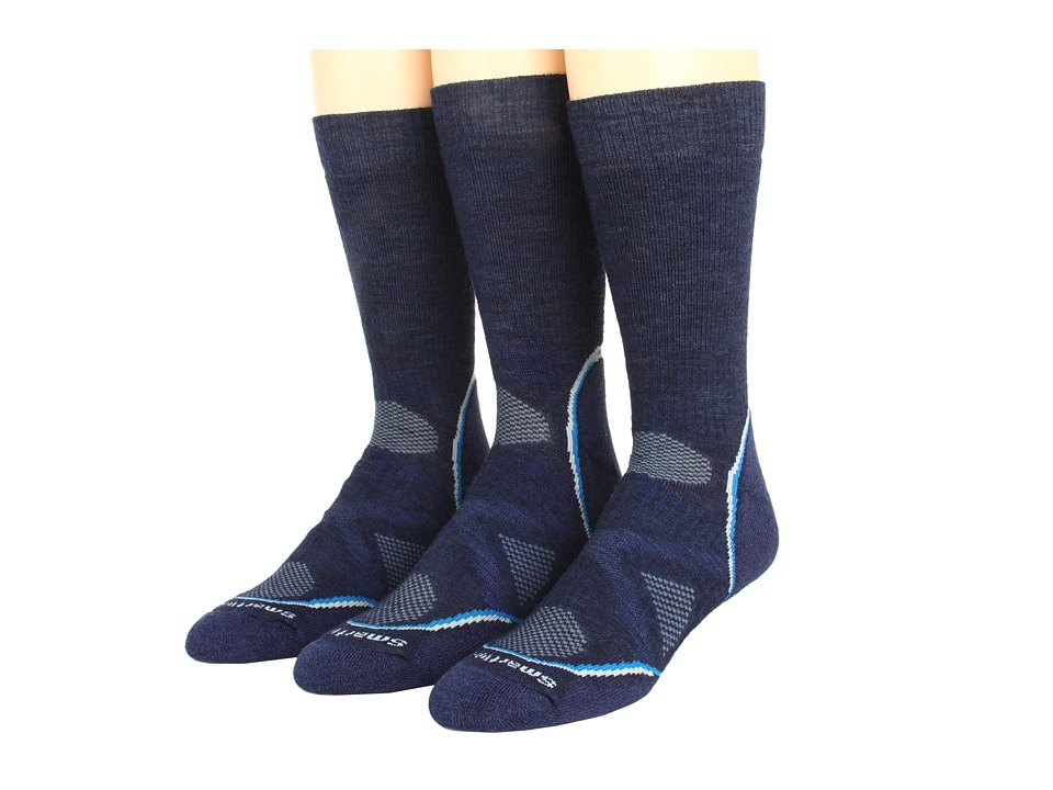Smartwool - PhD Outdoor Medium Crew 3-Pack (Navy) Men's Crew Cut Socks Shoes