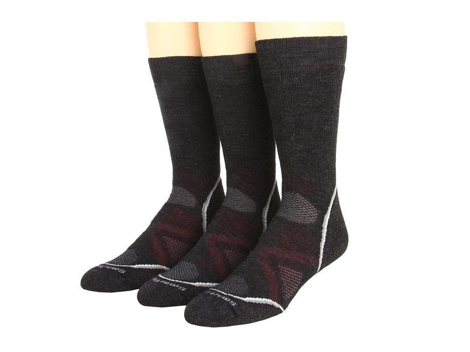 Smartwool - PhD Outdoor Medium Crew 3-Pack (Charcoal) Men's Crew Cut Socks Shoes