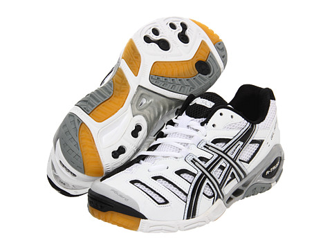 ASICS - GEL-Sensei 4 (White/Black/Silver) Women's Volleyball Shoes