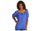 Three Dots - 1/2 Sleeve Peasant Top (City Blue) - Apparel