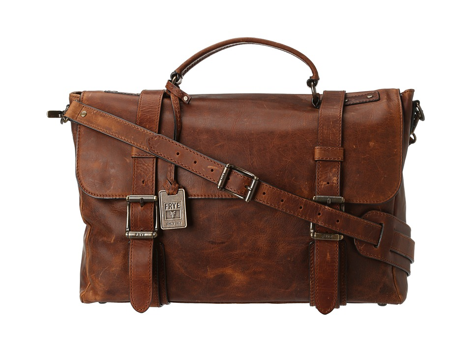 Frye - Logan Flap Brief Case (Cognac Antique Pull Up) Briefcase Bags