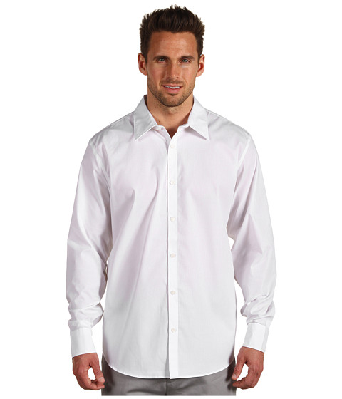 Calvin Klein - L/S Mini Stripe Sport Shirt (Soft White) Men's Long Sleeve Pullover