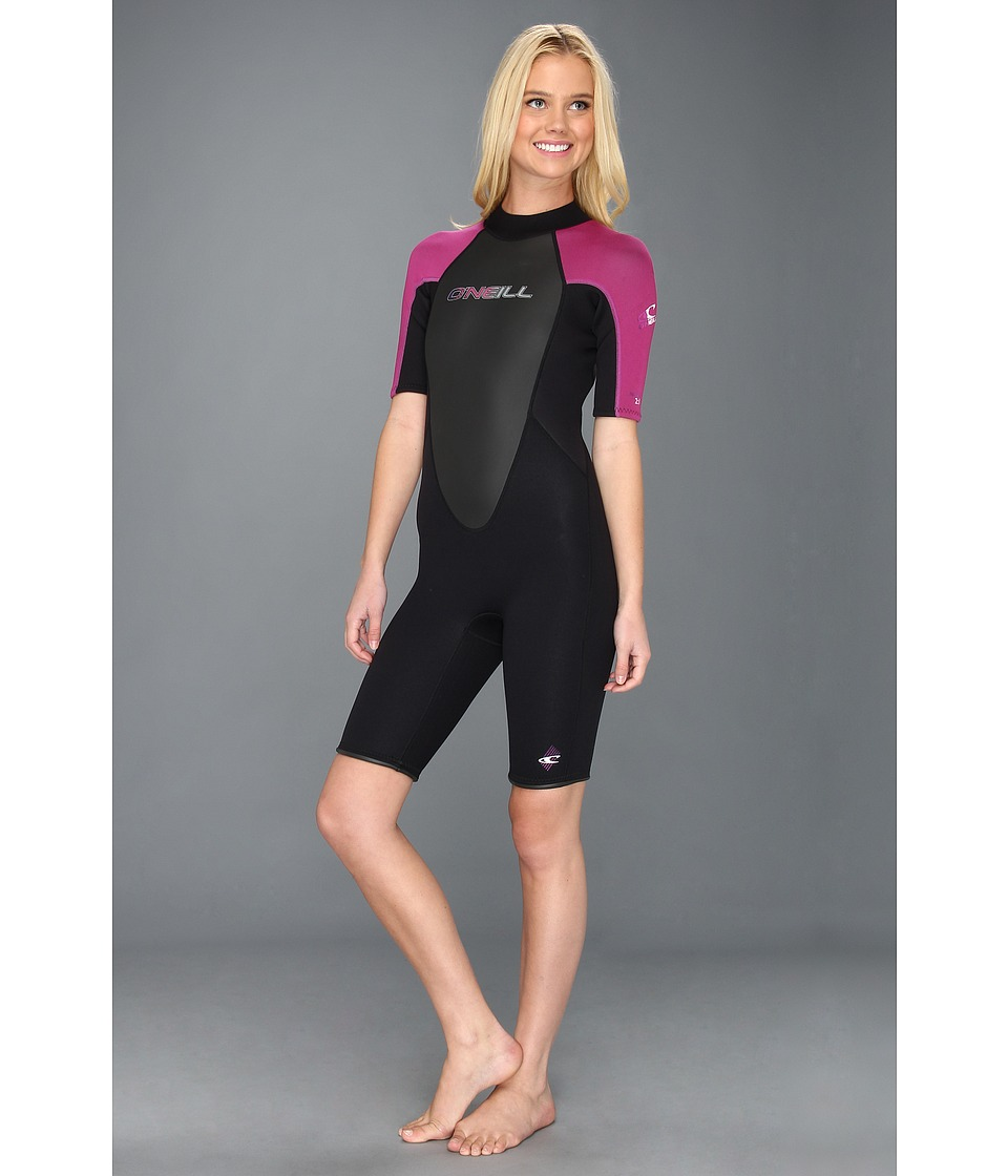 O'Neill - Reactor Spring Suit (Black/Festival/Black) Women's Wetsuits One Piece