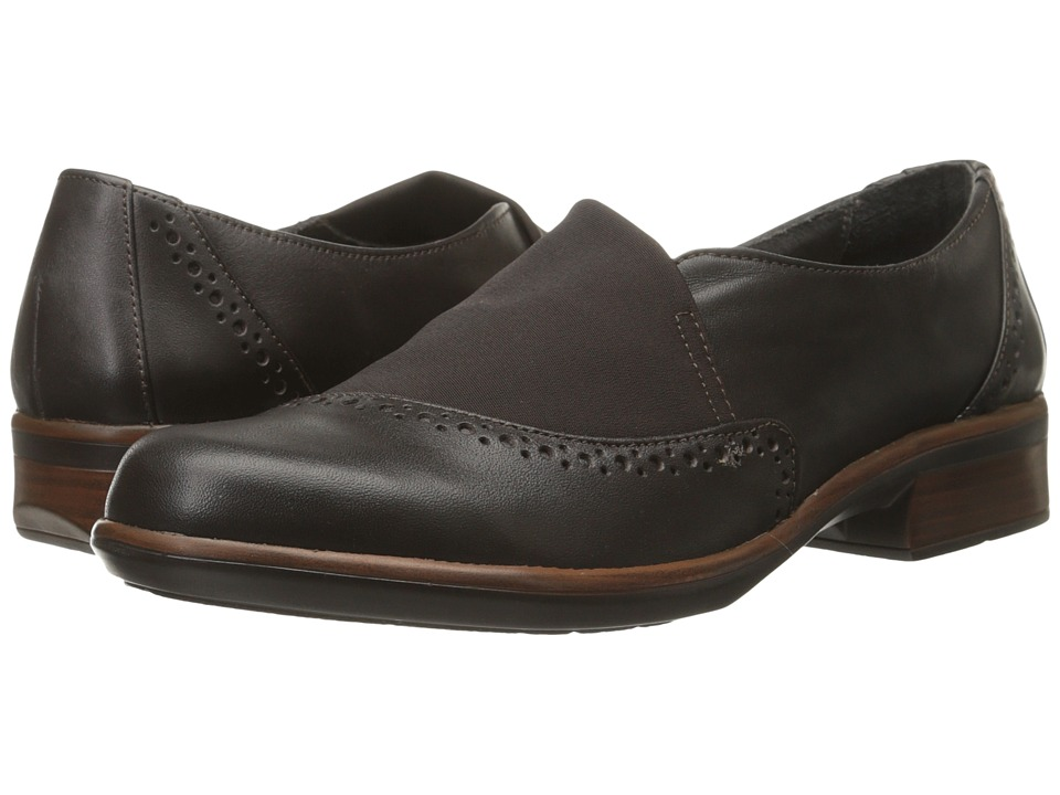 Naot Footwear - Talas (French Roast Leather/Brown Stretch) Women's Slip on Shoes