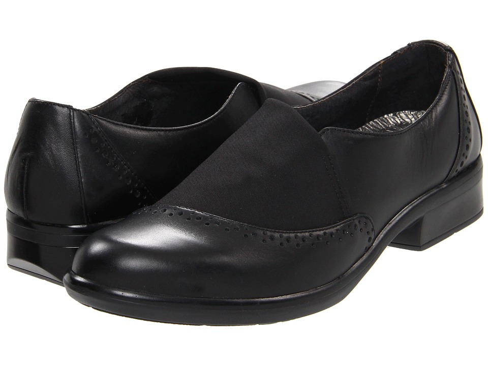 Naot Footwear - Talas (Black Raven Leather/Ebony Stretch) Women's Slip on Shoes