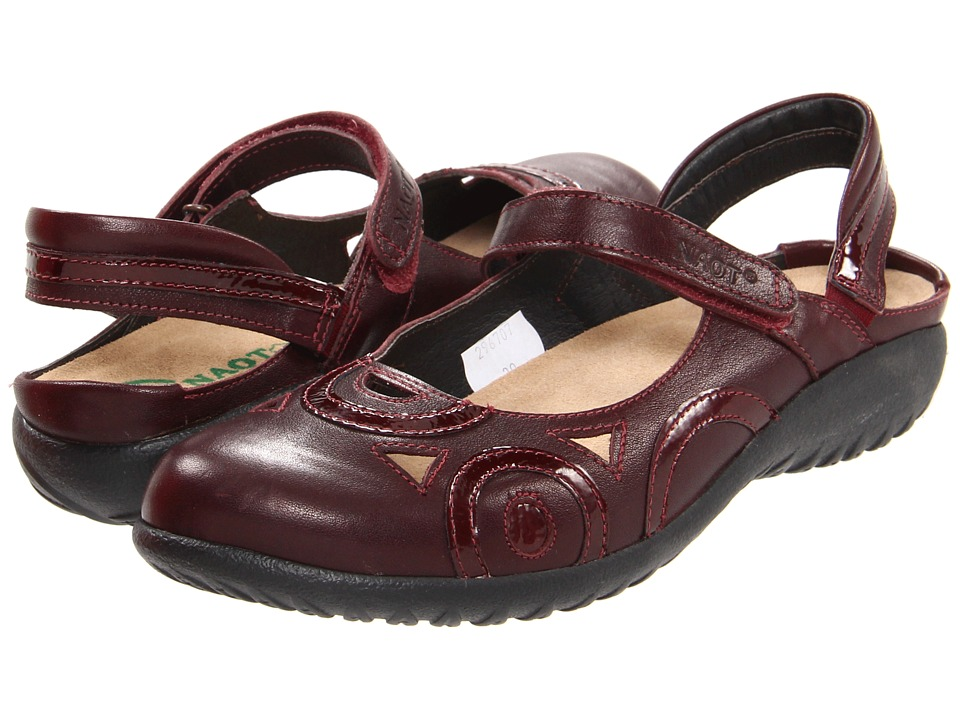 Naot Footwear - Rongo (Deep Shiraz Leather/Wine Patent Leather) Women's Hook and Loop Shoes