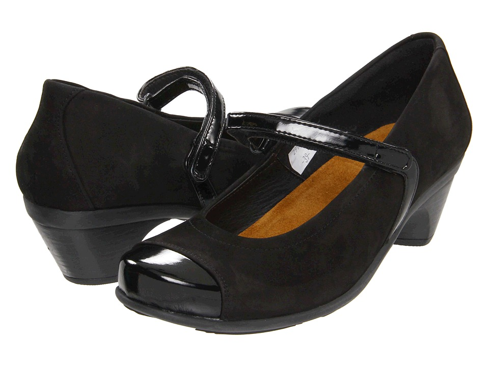 Naot Footwear - Flare (Black Velvet Nubuck/Black Crinkle Patent Leather) Women