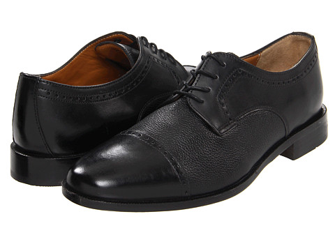 Bostonian - Ricardo Cap Toe (Black/Black Tumbled) Men