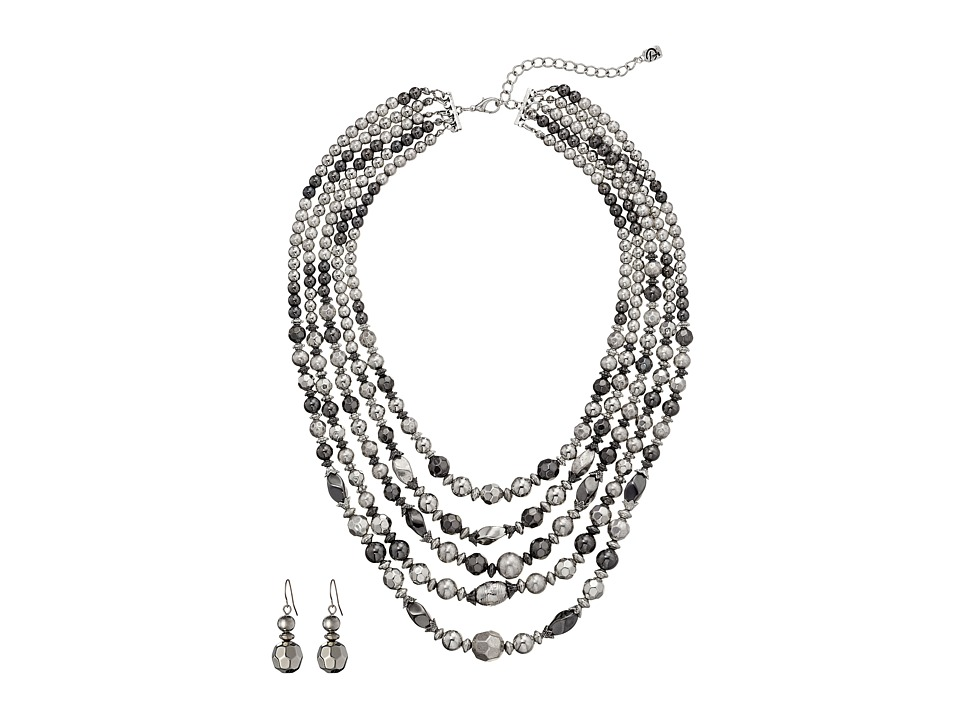 M&F Western - 5 Strand Silver Bead Necklace/Earring Set (Silver) Jewelry Sets