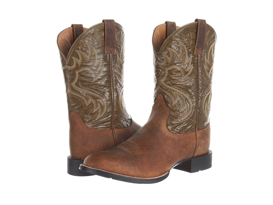 Ariat Heritage Horseman (Horseman Distressed Brown/Army Green) Cowboy Boots