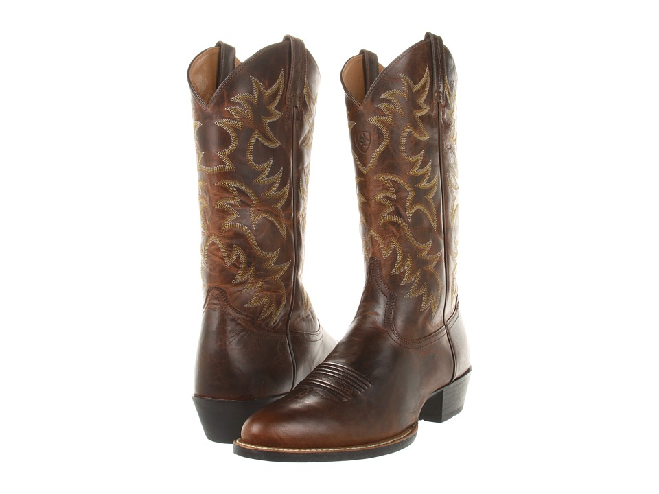 Ariat - Heritage Western R Toe (Weathered Chestnut) Cowboy Boots