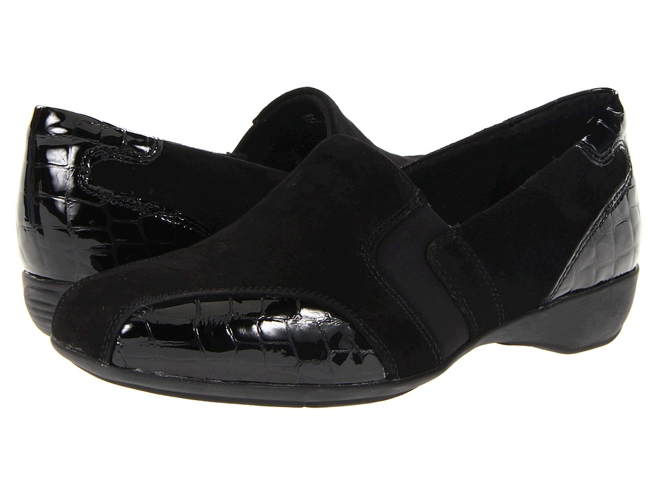 clarks noreen will black fabric s slip on shoes