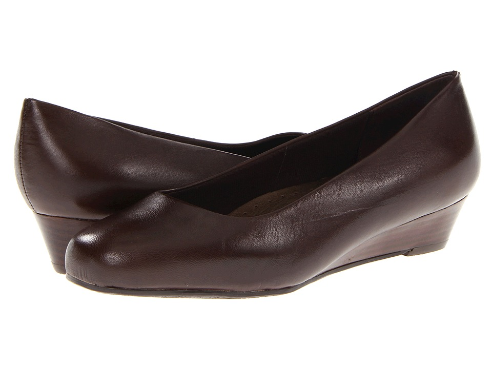 Trotters - Lauren (Dark Brown Burnished Soft Kid) Women's Wedge Shoes