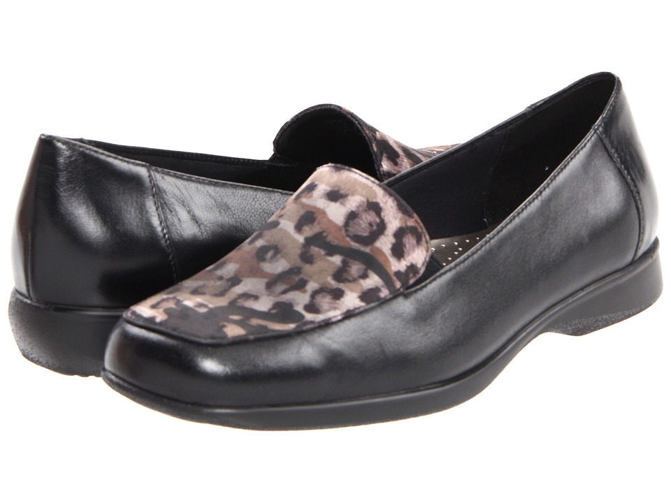 Trotters - Jenn Leopard (Black/Grey Leopard Soft Kid/Printed Textile) Women's Slip on Shoes