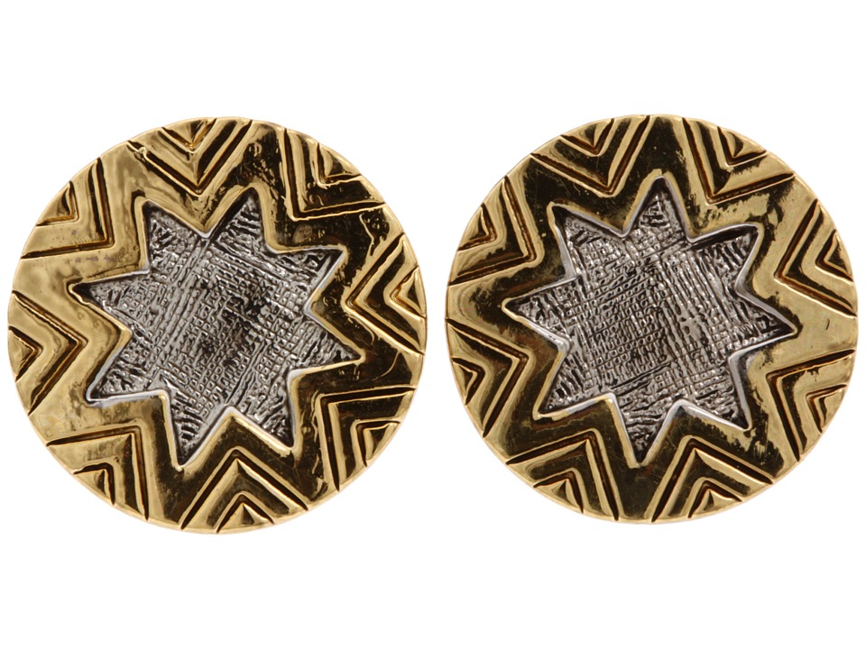 House of Harlow 1960 - Two-Tone Engraved Sunburst Stud (14K Yellow Gold Plated/Rhodium Plated) Earring