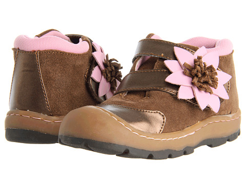 Jumping Jacks Kids - Flower Burst (Toddler) (Brown Suede w/ Chocolate & Pink Trim) Girls Shoes