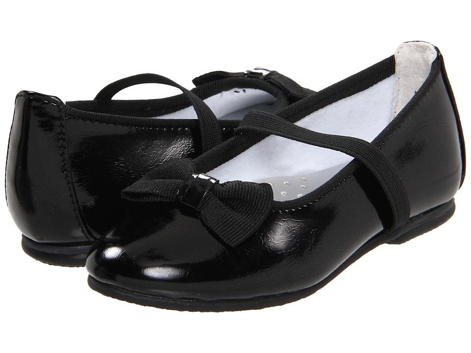 Jumping Jacks Kids - Balleto - Marcy (Toddler/Little Kid/Big Kid) (Black Krinkle Shiny w/ Black Faille Trim) Girls Shoes