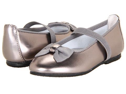 Jumping Jacks Kids - Balleto - Marcy (Toddler/Little Kid/Big Kid) (Pewter Krinkle Shiny w/ Pewter Faille Trim) Girls Shoes
