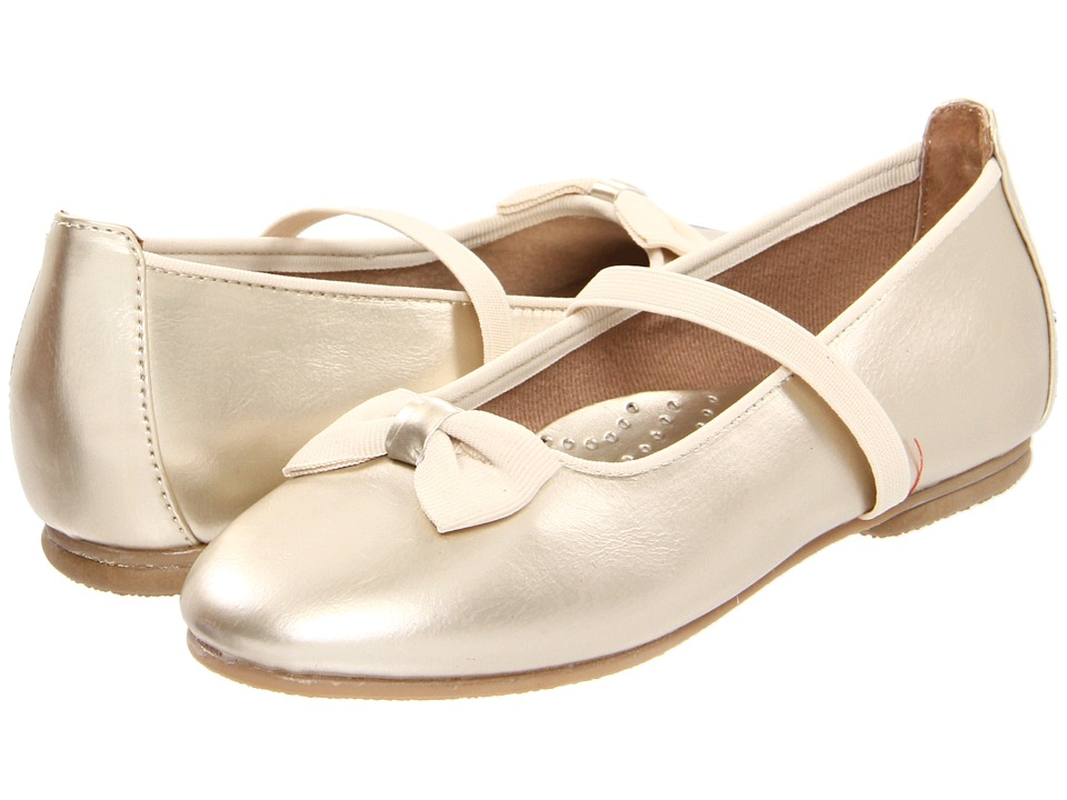 Jumping Jacks Kids - Balleto - Marcy (Toddler/Little Kid/Big Kid) (Gold Krinkle Shiny w/ Gold Faille Trim) Girls Shoes