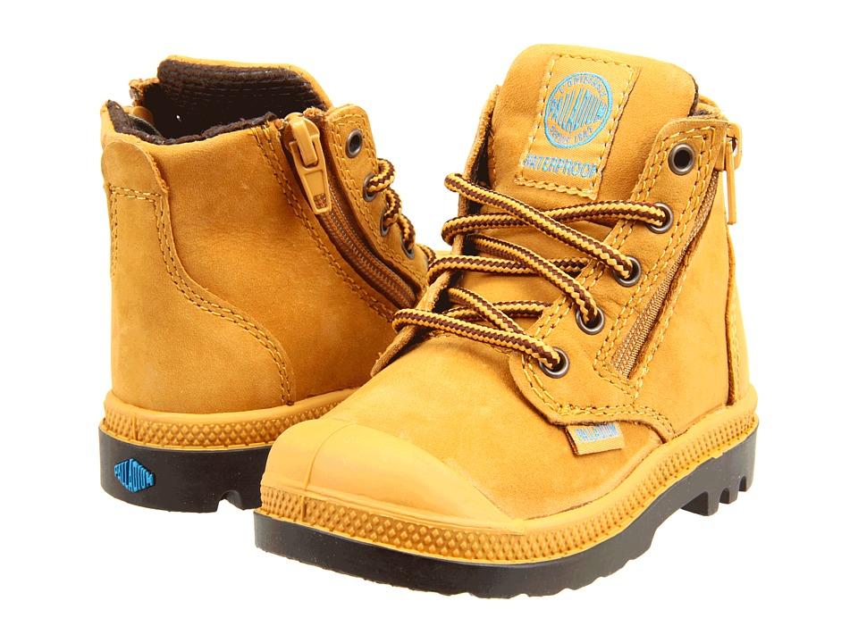 Palladium Kids - Pampa Hi Leather Gusset (Toddler) (Amber Gold/ Chocolate) Kids Shoes