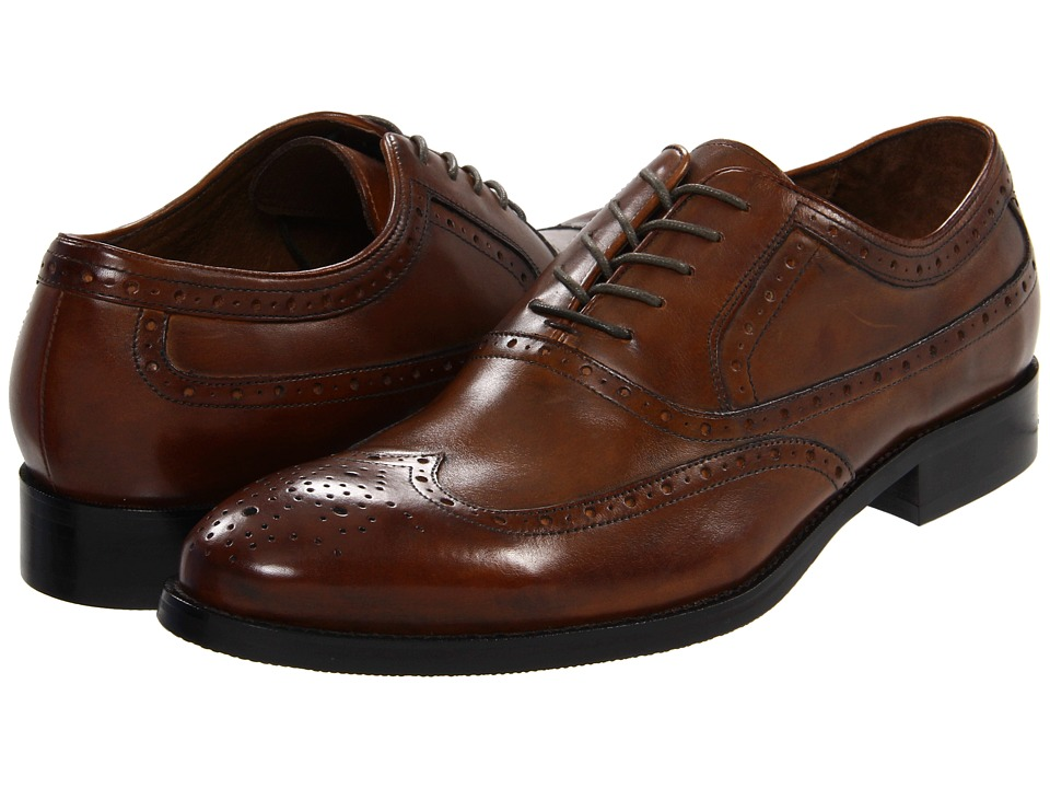 Johnston & Murphy - Tyndall Wing Tip (Saddle Tan Italian Calfskin) Men's Lace Up Wing Tip Shoes